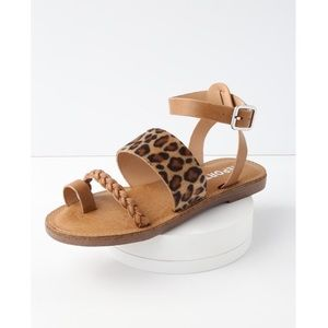 report johnnie leopard flat ankle strap sandals